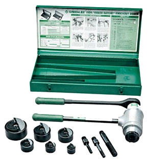 GRT1906SB HIGH LEVERAGE RATCHET DRIVER WITH 1/2 THROUGH 2 SLUG-BUSTERCONDUIT SIZE PUNCHES,DIES, DRAW STUDS AND CASE, GREENLEE