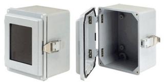 HOFFMAN A1287JFGR J BOX TYPE 4X, SOLID COVER/SCR , BULLETIN A50 (FIBERGLASS TYPE 4X SMALL ENCLOSURES), SIZE/DIMS: 11.50X8.00X6.69, MATERIAL/FINISH: FIBERGLASS
