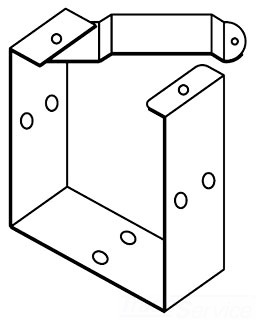 HFF88GUCGV WW, TYPE 1, U- CONNECTOR, BULLETIN F40GF (GALVANIZED TYPE 1 LAY-IN WIREWAY FITTINGS), SIZE/DIMS: FITS 8.00X8.00, MATERIAL/FINISH: GALVANIZED, HOFFMAN