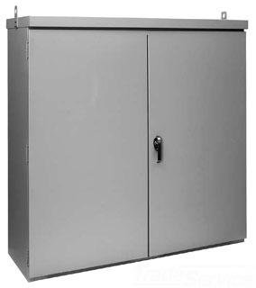 HFA60R5224FSLP 3R PAD-MOUNT FREE-STAND ENCL, BULLETIN A3PM (HINGED COVER TYPE 3R ENCLOSURES - PAD MOUNT), SIZE/DIMS: 60.00X52.00X24.00, MATERIAL/FINISH: GALV/LTGRAY, HOFFMAN