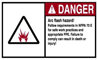 Ideal 44-895 IDEAL 44-895 SELF-STICKING NEC ARC FLASH PROTECTION LABEL, POLYESTER, 6 IN LENGTH, 4 IN WIDTH, RED AND BLACK LEGEND COLOR, DANGER LEGEND, WHITE BACKGROUND, PACKAGE: 5/BAG, NATIONAL ELECTRIC CODE 110.16