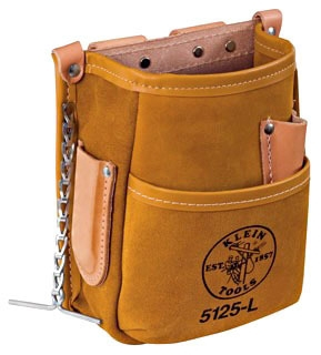 KLE5125L 5 POCKET TOOL POUCH LEATHER, KLEIN TOOLS