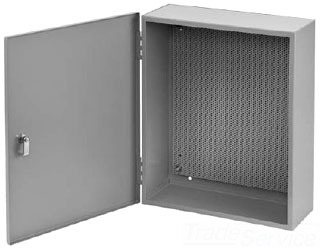 HOFFMAN A2420AT1PP TYPE 1 CONTROL BOX W PERF PANEL, BULLETIN A1PP (TYPE 1 LOCKING INTEGRATED PERF PANEL ENCLOSURE), SIZE/DIMS: 24.00X20.00X6.62, MATERIAL/FINISH: STEEL/GRAY BOX W PERF PANEL, BULLETIN A1PP (TYPE 1 LOCKING INTEGRATED PERF PANEL ENCLOSURE), SIZE/DIMS: 24.00X20.00X6.62, MATERIAL/FINISH: STEEL/GRAY