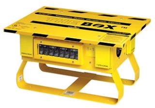 LEVITON PB101-SGF THE BOX 50A 125/250 VOLT TEMPORARY PORTABLE POWER DISTRIBUTION CENTER W/ 6 L5-20R LOCKING GFCI PROTECTED OUTLETS AND ONE L6-30R LOCKING GFCI PROTECTED OUTLET - YELLOW