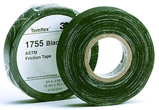 MMM1755 3/4X60FT FRICTION TAPE, BLACK, 3M
