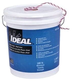 IDEAL 31-344 IDEAL; PULL-LINE; POWR-FISH?; EXTRA HEAVY DUTY; LENGTH: 2,200 FT; TENSILE STRENGTH: 500 LB; MATERIAL: FIBER POLYLINE; COLOR: WHITE WITH RED TRACER