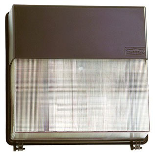 HUBBELL LIGHTING PVL3-150P-18-BZ-L WALLPACK, 150W PS, QUAD-TAP, BRONZE, WITH LAMP