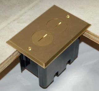 ALLMFB-2 THERMOPLASTIC FLOOR BOX 25 CU IN RECT BRASS CVR DUPLEX DEVICE, ALLIED MOULDED PRODUCTS