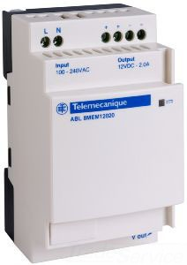 SCHNEIDER ELECTRIC ABL8MEM12020 SCHNEIDER ELECTRIC,PHASEO POWER SUPPLY 12VDC 2AMP,#14 TO #26 AWG,100 TO 240 VAC,12 VDC,25 W,2A,DIN RAIL / PANEL,PHASEO