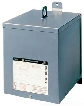 SQUARE D 2S78F TRANSFORMER DRY 1PH 2KVA 480V-277V