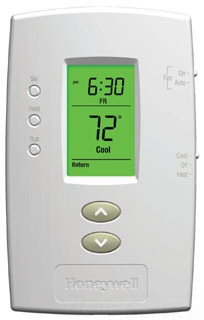 HONTH2110D1009 PRO 2000 VERTICAL PROGRAMMABLE DIGITAL THERMOSTATS, BACKLIT DISPLAY, DUAL POWERED (24VAC AND/OR BATTERY). 1 HEAT / 1 COOL, HONEYWELL