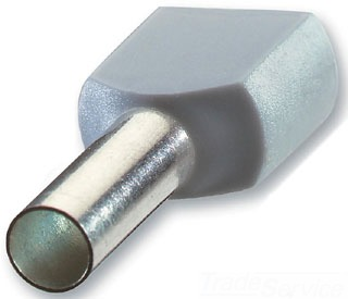 THBF2023 INSULATED NYLON FERRULE FOR WIRE SIZE 18, WIRE SIZE 0.75 MM2, LENGTH 0.472 INCHES, GREY, THOMAS & BETTS