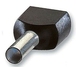 THBF8002 INSULATED NYLON TWIN FERRULE FOR WIRE SIZE 2X18, WIRE SIZE 2X0.75 MM2, LENGTH 0.669 INCHES, GREY, THOMAS & BETTS