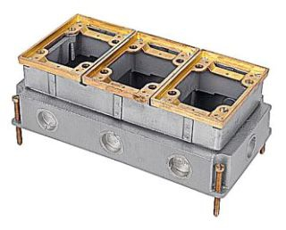 643 TYPE; POLISHED BRASS CAST IRON MATERIAL; 5-1/2 INCH; 10 INCH; 3-5/8 INCH; RECTANGULAR SHAPE; 3/4 INCH HUB SIZE; CONCRETE FLOOR INSTALLATION; 3 GANG(S); P64 COVER TYPE; 1 STANDARD PACKAGE; 37 CU INCH EACH GANG CAPACITY; FLUSH SERVICE TYPE
