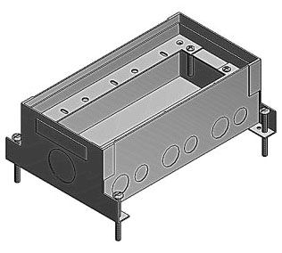 743D RECTANGULAR; WIDTH 5-1/2 INCH; DEPTH 3-5/8 INCH; 2 INCH PRE-POUR, 1-1/2 INCH POST-POUR ADJUSTMENT; STAMPED PRE GALVANIZED 16 GAUGE STEEL; 14 KNOCKOUT(S)
