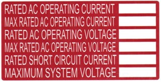 TYT596-00240 SOLAR RATING LBL,RATED AC OPERATING CURRENT; MAX RATED AC OPERATING CURRENT; RATED AC OPERATING VOLTAGE; MAX RATED AC OPERATING VOLTAGE; RATED SHORT CIRCUIT CURRENT; MAXIMUM SYSTEM VOLTAGE., TYTON