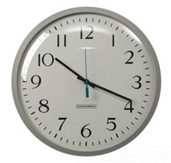 EDWARDS 1886B ANALOG CLOCK WITH LARGE, EASY TO READ NUMBERS ON A WHITE BACKGROUND. BLACK HOUR AND MINUTE HANDS AND BLUE SECOND HAND. 8 INCH FACE. BATTERY OPERATED. BROWN CASE.
