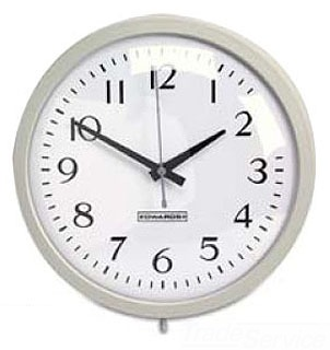 EDWARDS 1887B ANALOG CLOCK WITH LARGE, EASY TO READ NUMBERS ON A WHITE BACKGROUND. BLACK HOUR AND MINUTE HANDS AND BLUE SECOND HAND. 12 INCH FACE. BATTERY OPERATED. BROWN CASE.