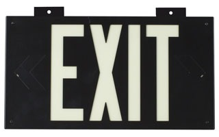 BRADY 38097B PHOTOLUM EXIT SIGN 1 SIDED W/MOUNT BLACK