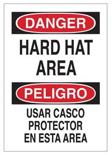 BRADY 38914 SPANISH/DNGR HARD HAT AREA