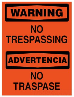 BRADY 38641 SPANISH/WRNG NO TRESSPASSING