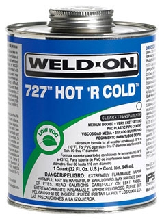 IPS WELD-ON 727-QT CLEAR GLUE QUART 10841 HOT 'R COLD MEDIUM BODIED VERYFAST SETTING *** FLAMMABLE LIQUID - NA1133 ***