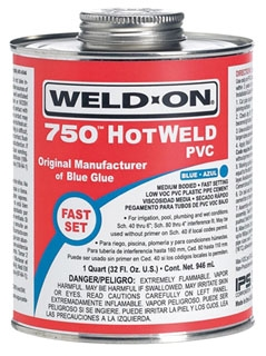 IPS WELD-ON 750-HP BLUE GLUE 1/2 PINT 13753 MEDIUM BODIED; FAST SETTING; HOTWELD *** FLAMMABLE LIQUID - NA1133 ***