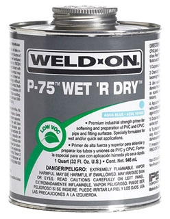 IPS WELD-ON P-75 QT WET'R DRY AQUA BLUE PRIMER 10248 QUART ***CEMENT SOLVENT - FLAMMABLE LIQUID - NA1133***