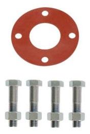 2 150# FLG BOLT PACK 1/8 RRFF ZINC - RED RUBBER - FULL FACE GASKET - ZINC BOLTS/NUTS S2BZ0F/02015RF2