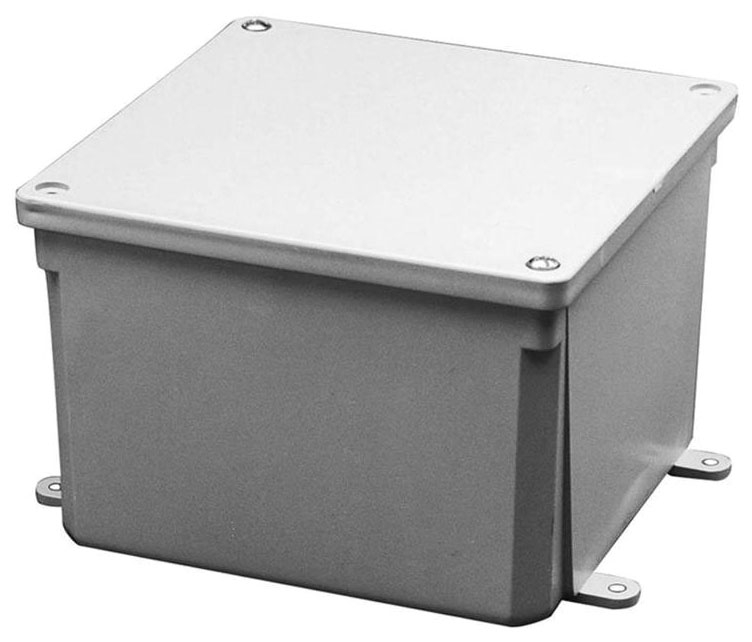 6 X 6 X 4 Inch PVC Molded Junction Box with Cover