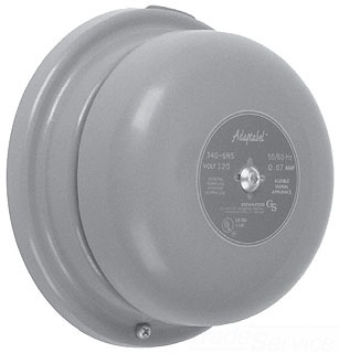 ROUND SINGLE STROKE GONG; 120 VAC AT 60 HZ; 0.1 AMPERE; POWER RATING 12 VA; SOUND INTENSITY 84 DB AT 10 FT; 4 INCH DIA GONG SIZE; OCTAGON BOX/SINGLE GANG BOX/SQUARE BOX/SURFACE MOUNTING; SIZE 4-1/2 INCH DIA X 2-13/32 INCH D