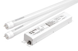 (73368) S-LED19T8L48/F/1X4HE/850/UNV 4' 5000K ULTRA HE LED T8 RETROFIT KIT. INCLUDES 4 LAMPS AND 1 4-CHANNEL UNIVERSAL DRIVER