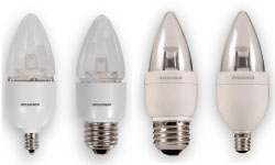 (75167) S-LED4B10C/BLUNT/DIM/827/G2/RP 4W 120V 2700K CANDELABRA (E12) BASE DIMMABLE LED BLUNT TIP (B10) LAMP 200 LUMENS 15,000 HOUR AVERAGE RATED LIFE