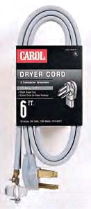 CAROL 01006 6FT 4W BLK DRYER CORD GLOBAL 37-9049-18