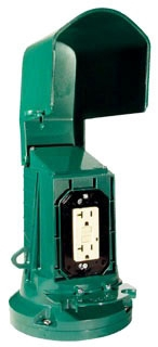 WP2000 FLEXI-GUARD OUTLET POST - GREEN WITH GFCI, DUPLEX, TOGGLE/RND INSERTS