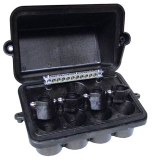 PJB4175 PLASTIC POOL/SPA LIGHT JUNCTION BOX - FOUR LIGHT CAPACITY W/CONDUIT SIZES FROM .5