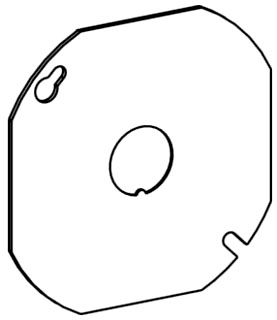 ORBT 4RBCK 4IN OCT. BOX STEEL COVER FLAT, 1/2IN KO