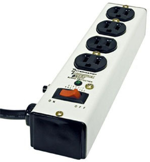 IG112463 METAL SURGE STRIP WITH 4 OUTLETS, EMI/RFI FILTER, LIGHTED SWITCH, 6 FOOT CORD. ANSI/UL1449 3RD EDITION.