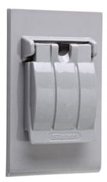 (P&S) 3760 GRAY WEATHERPROOF COVER SINGLE RECEPTACLE VERTICAL SINGLE COVER THREE POSITION FLIP-LID