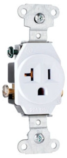 5351-W WHITE 20A 120V SINGLE RECEPTACLE COMMERCIAL GRADE