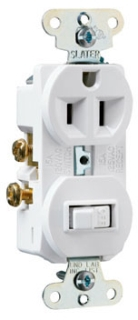 691W WHITE STACK DEVICE 1-SP SWITCH & 1 -RECPTACLE