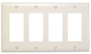 (P&S) TP264I IVORY TRADEMASTER PLATE 4GANG 4DECORATOR