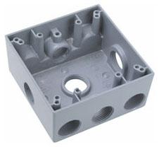 WPB362 WEATHERPROOF BOX ALUMINUM 2G 5HOLE 3/4