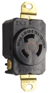 L1020R TURNLOK RECEPTACLE 3WIRE 20A125/250V