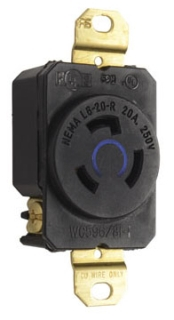 L620RBL 20A 250V BLUE TURNLOK RECEPTACLE