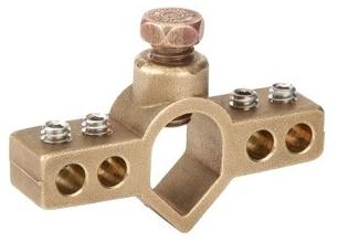 BRI IGBC-063 Ground Rod/Rebar Bridge Clamp, Size: 1/2 - 5/8 Inch, (4) Terminal Points, Body: Brass, Screws: Stainless Steel