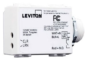 LEV WST05-10 LevNet RF, 3-Wire 500W Relay Receiver, Threaded Mount, 120VAC, 315MHz, EnOcean, Title 24 compliant, ASHRAE 90.1 compliant