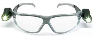 3M 11356 LIGHT VISION SAFETY GLASSES CLEAR ANTI-FOG LENS AND GRAY FRAME WITH ADJUSTABLE LED LIGHTS