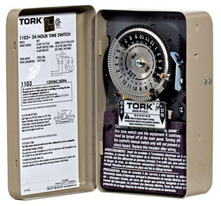 TORK 1103 120V INDOOR TIME CLOCK DOUBLE POLE SINGLE THROW (DPST) TIMER SWITCH