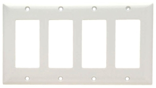 (P&S) SP264W WHITE PLASTIC WALL PLATE 4GANG
